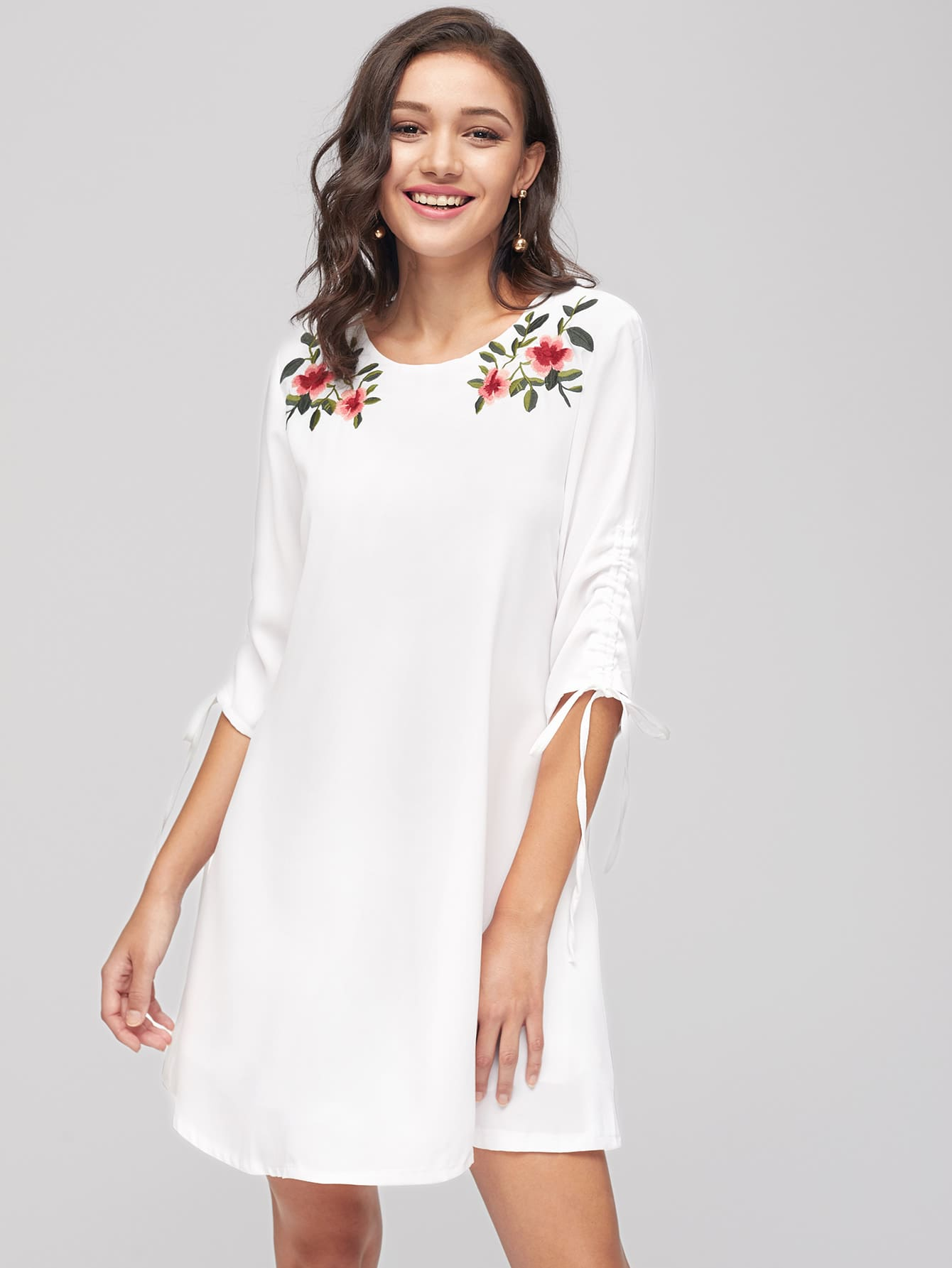 Фото 3/4 sleeve Flower Embroidery Shift Dress. Купить с доставкой