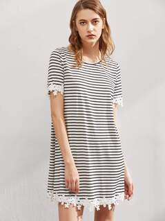 Floral Lace Trim Striped Tee Dress