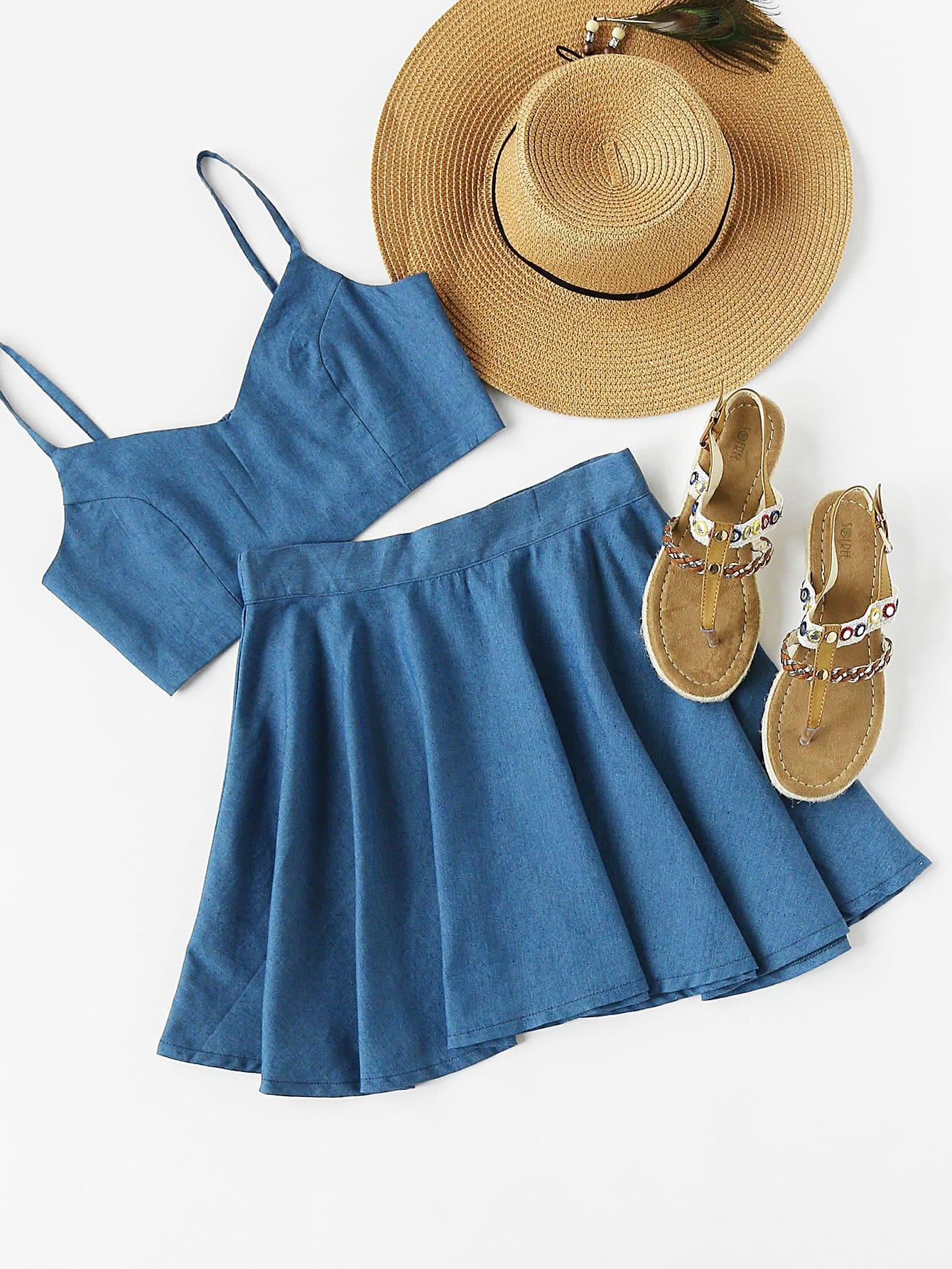 Фото Crop Chambray Cami Top And Skirt Set. Купить с доставкой