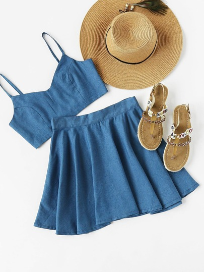 Crop Chambray Cami Top und Shorts Set