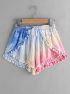 Frill Trim Pastel Tie Dye Wrap Shorts