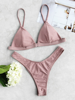 Seam Detail Triangle Top With High Leg Bikini Set