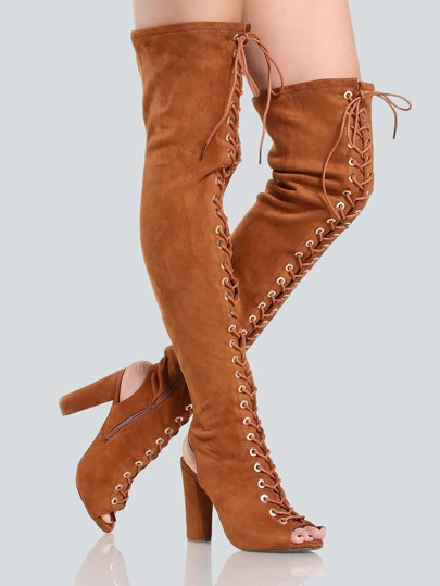 Faux Suede Lace Up Thigh Highs CHESTNUT