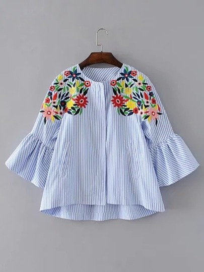 Bell Sleeve Flower Embroidery Top