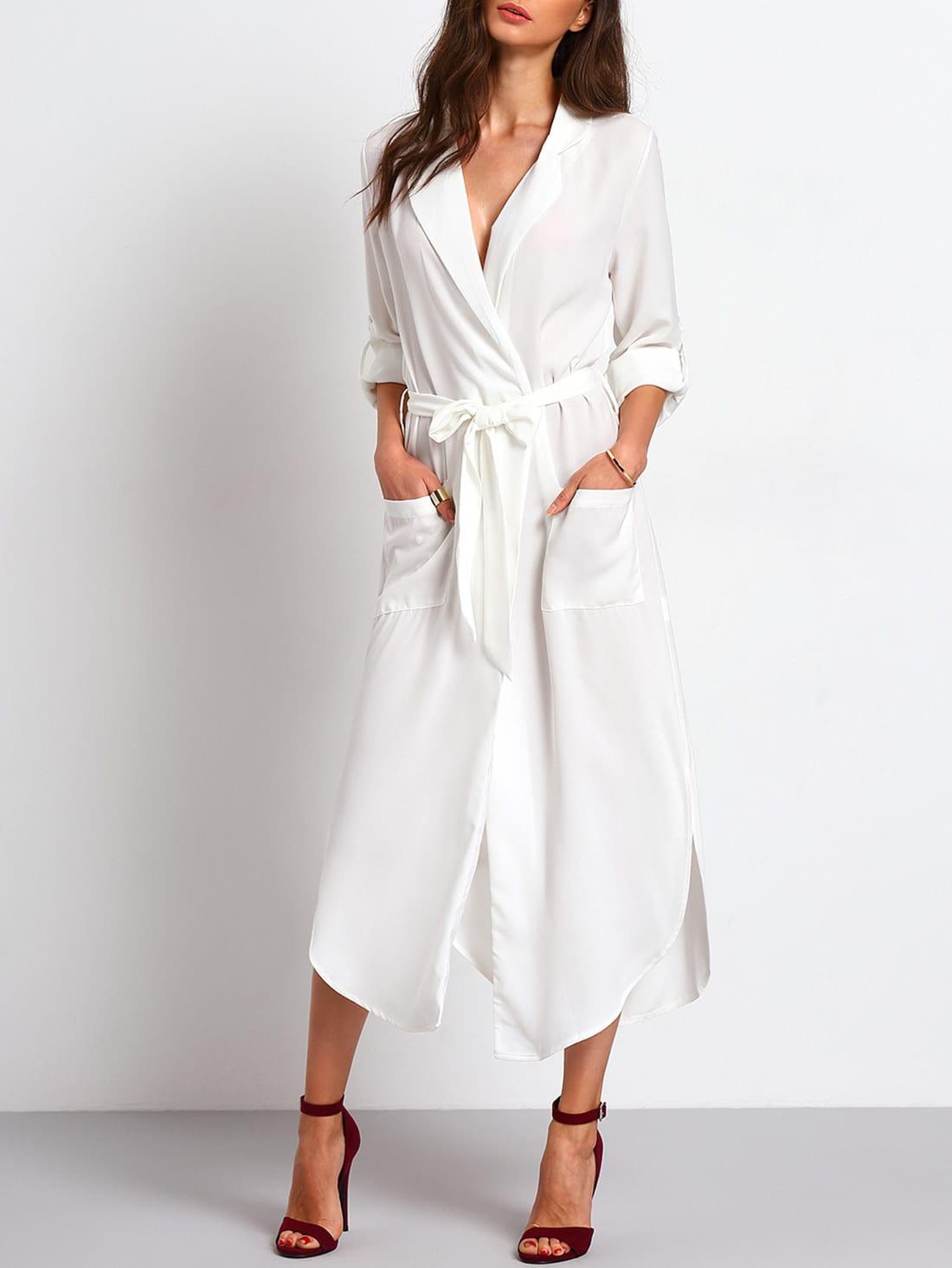 Tie Waist Side Slit Shirt Dress