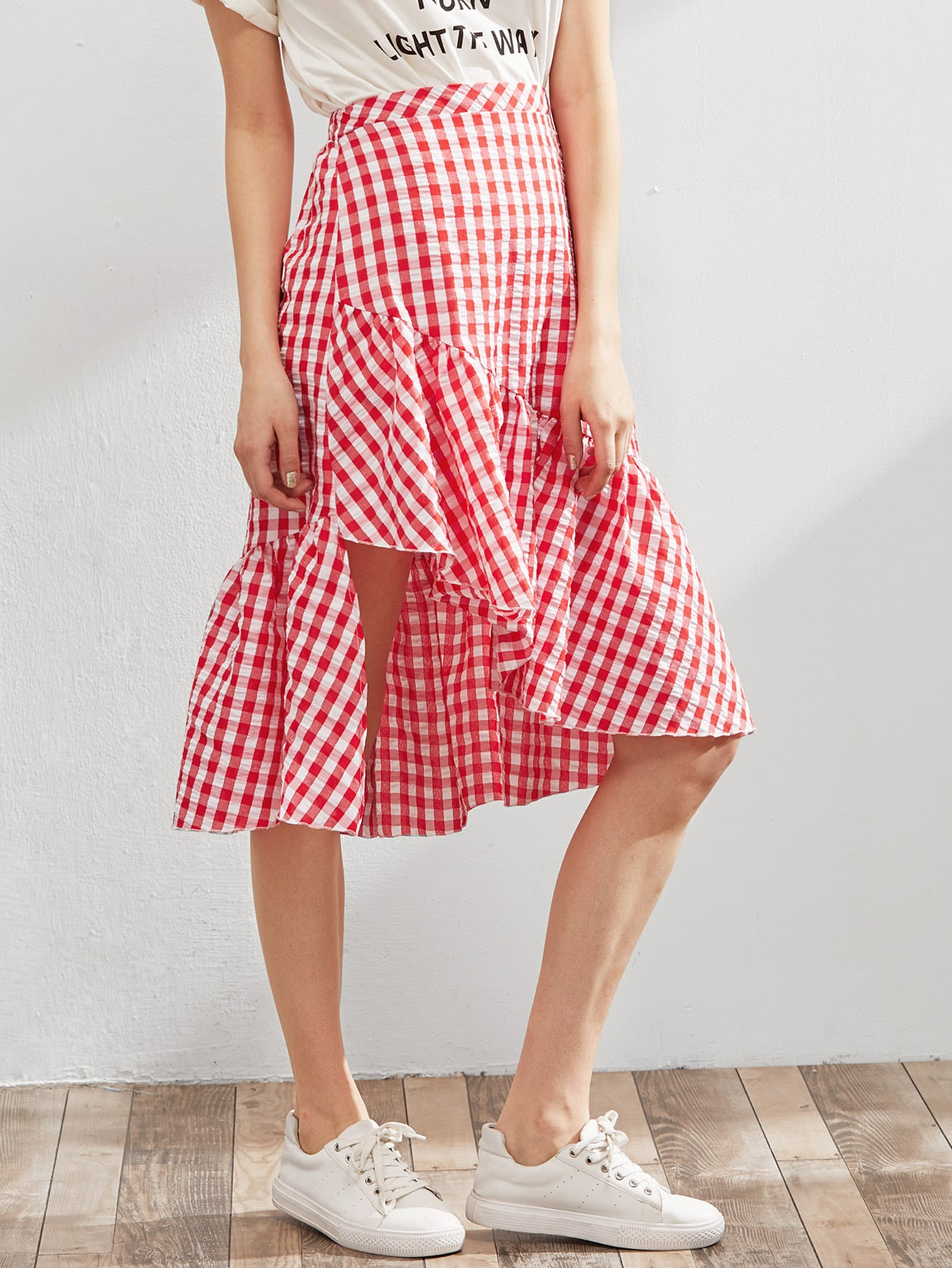 Elastic Waist Gingham Asymmetric Frill Skirt fashionable halter criss cross solid color backless tank top for women