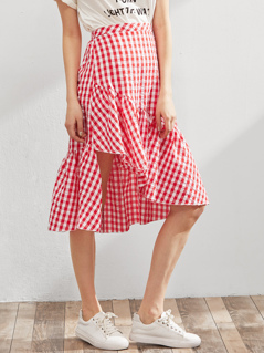 Elastic Waist Gingham Asymmetric Frill Skirt