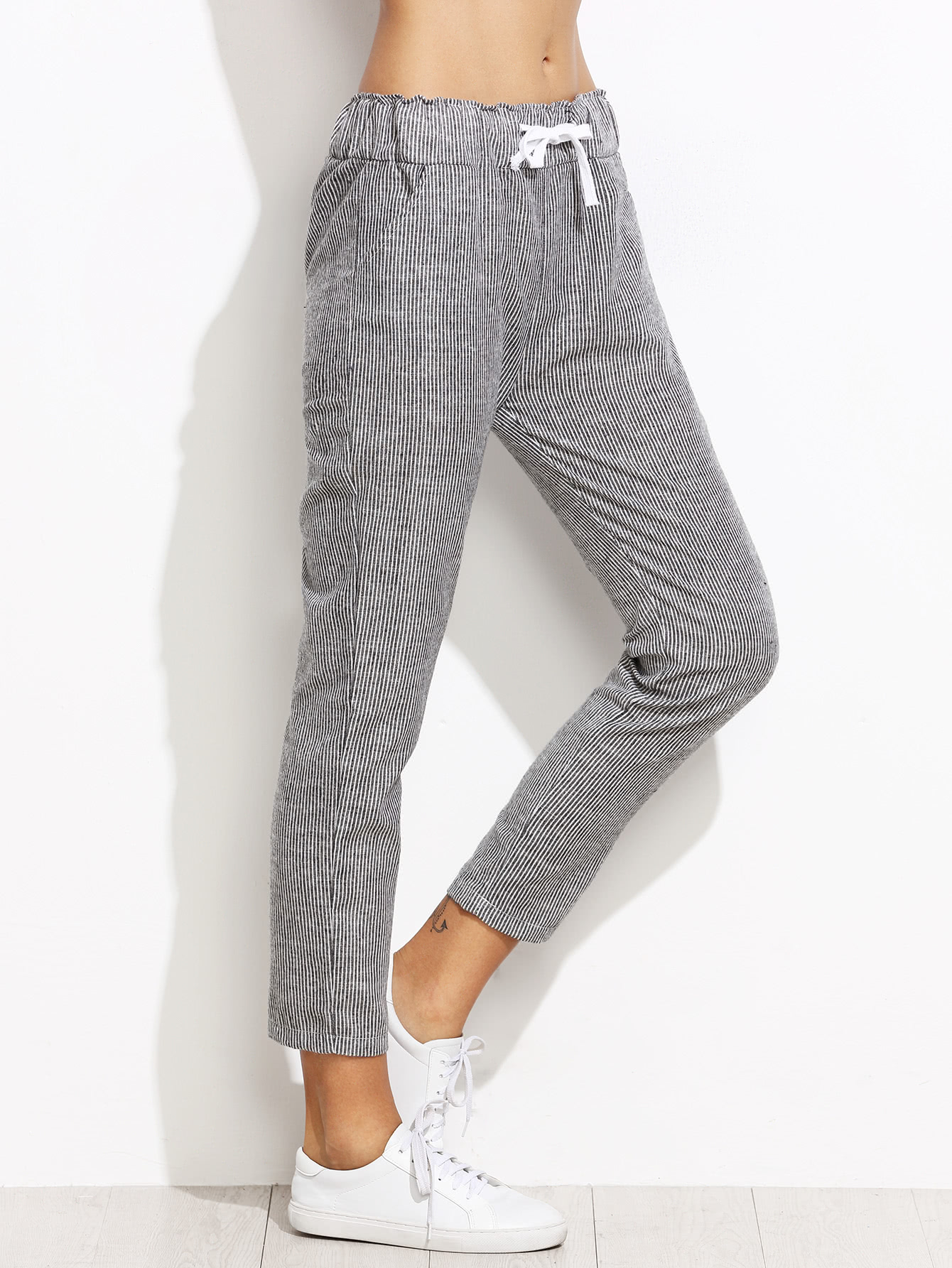Vertical Striped Drawstring Waist Pants
