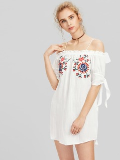 Cold Shoulder Frill Trim Embroidery Dress