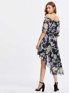 Frilled Off Shoulder Elasticized Waist Dip Hem Dress