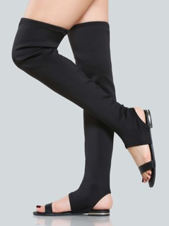 Open Toe Thigh High Sandals BLACK