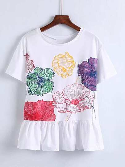 Contrast Ruffle Hem Embroidery Top