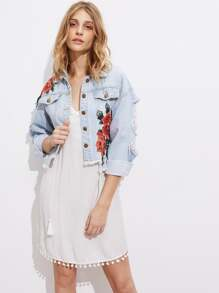 Embroidered Appliques Drop Shoulder Distressed Denim Jacket