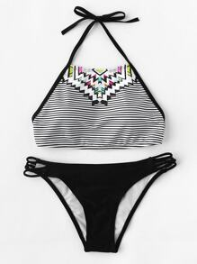 Striped Mix & Match Halter Bikini Set