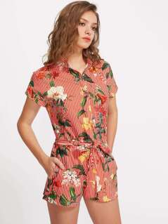 Hidden Placket Self Belt Mixed Print Shirt Playsuit