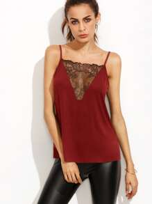 Top camisole a inserti in pizzo