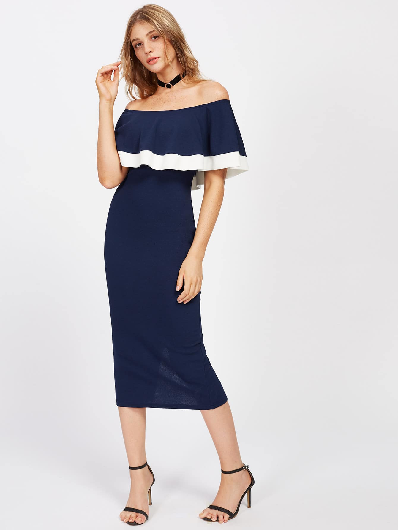 Фото Contrast Trim Vented Back Frill Bardot Dress. Купить с доставкой