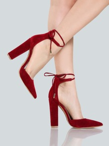 Point Toe Wrap Pumps WINE