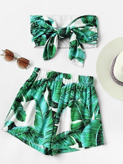 Leaf Print Random Bow Tie Crop Bandeau Top With Shorts