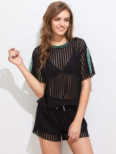 Printed Strap Applique Striped Mesh Tee & Shorts Set