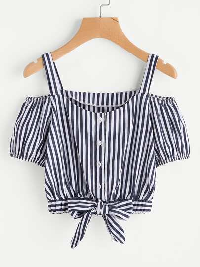 Vertical Striped Bow Tie Hem Top