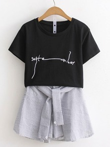 Crop Tee With Knot Front Skirt Shorts