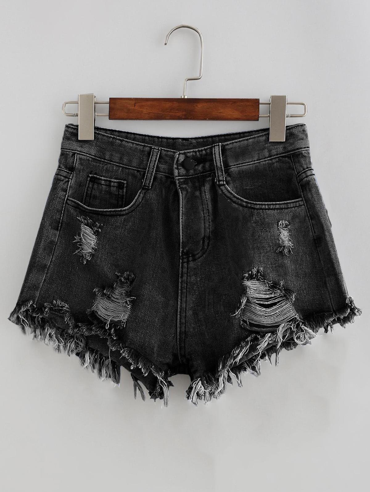 褪色洗 仿舊磨損的 牛仔布 短褲