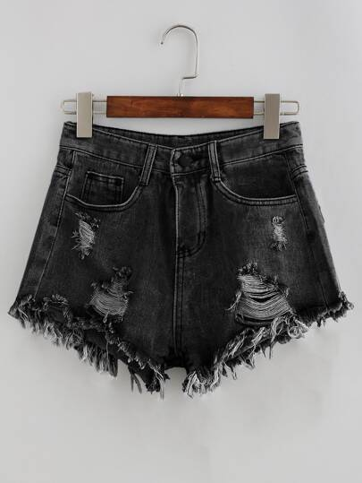 Shorts en denim de lavado descolorido