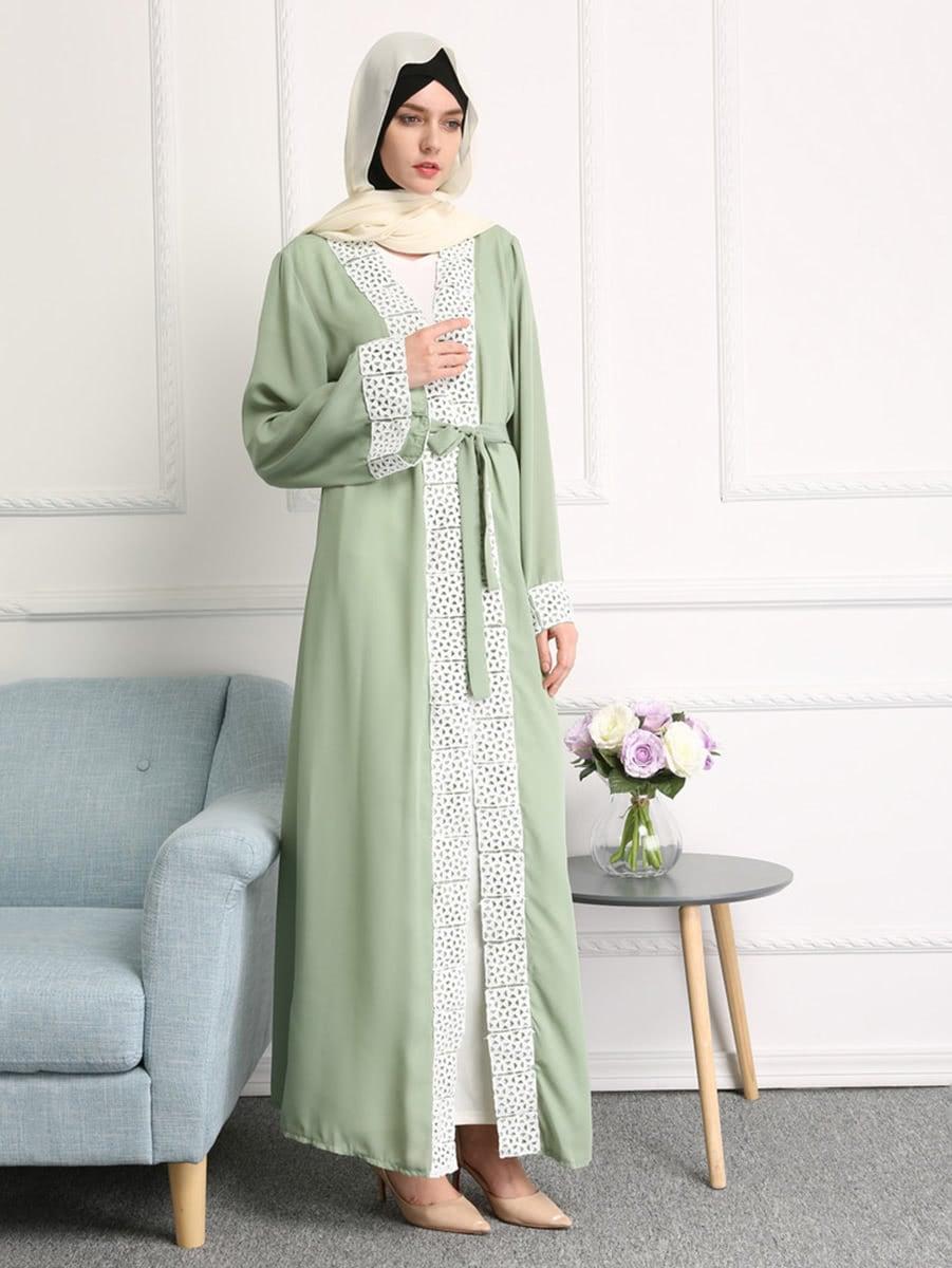 Фото Contrast Lace Trim Self Tie Longline Abaya. Купить с доставкой