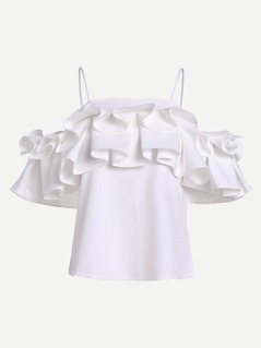 Layered Box Pleat Ruffle Top