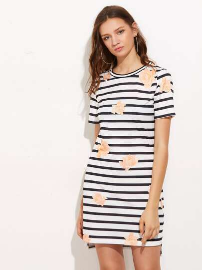Flower And Stripe Print Tee Dress