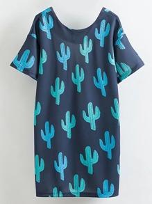 Cactus Print V Back Dress