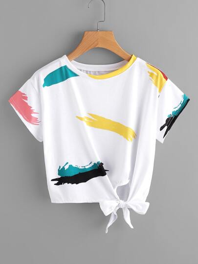 Graffiti Print Knot Side Tee