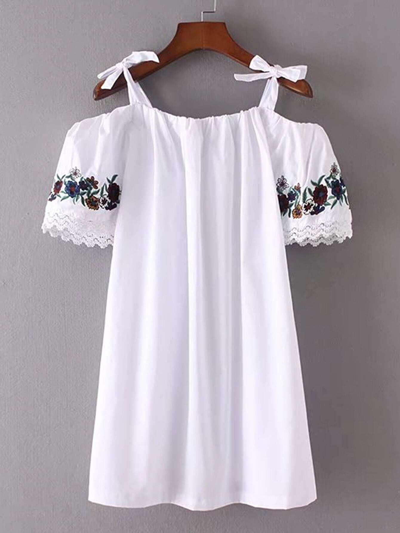 Фото Cold Shoulder Embroidery Bow Tie Detail Dress. Купить с доставкой