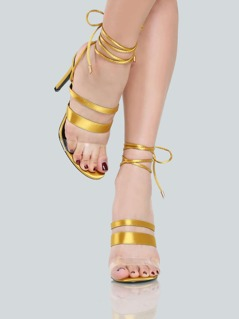 Satin Lace Up Heels MUSTARD