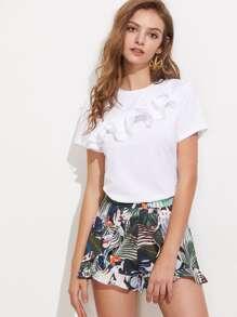 Layered Lettuce Hem Ruffle Trim T-shirt