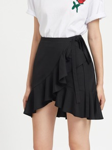Falda-pantalón con volantes y cordón