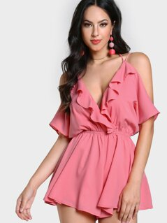 Drape Cold Shoulder Frilled Low Back Romper