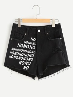 NO Print Raw Hem Distressed Denim Shorts