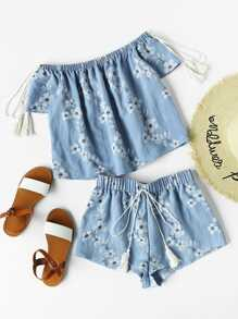 Flower Print Tasseled Tie Bardot Top And Shorts Set