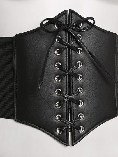 SheIn / Lace Up Faux Leather Corset Belt