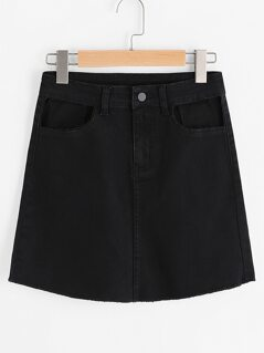 Cutout Curved Hem Denim Skirt