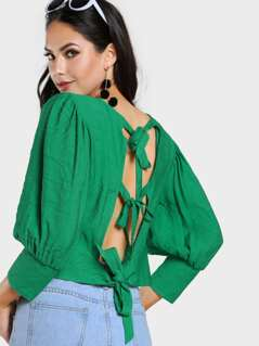 Self Tie Back Gigot Sleeve Top