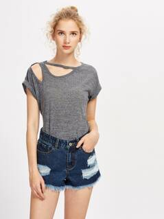 Cut Out Rolled Sleeve Marled Tee