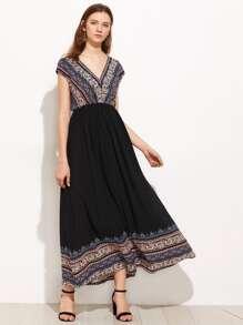 Paisley Print Double V Neck Empire Waist Dress