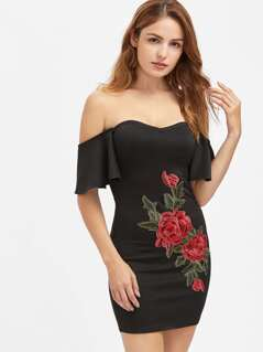 Flutter Sleeve 3D Rose Applique Sweetheart Bardot Dress
