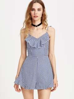 Ruffle Strap Cutout Tie Back Gingham Playsuit