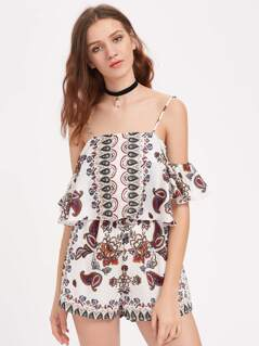 Paisley Print Cold Shoulder Playsuit