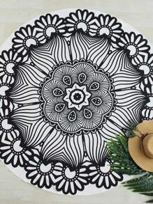 Two Tone Flower Print Round Beach Blanket