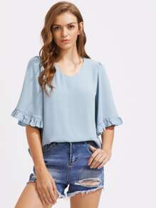 Frilled Trumpet Sleeve Top